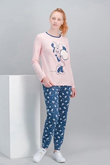 Minnie Mouse Minnie Mouse Lisanslı Karmelanj Kadın Pijama Takımı Pembe